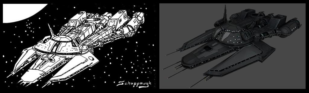 WIPs screenshot of super dreadnought taken from original Takamo artwork by Tony Schappaugh. 3D Model by Camilo Aldana.