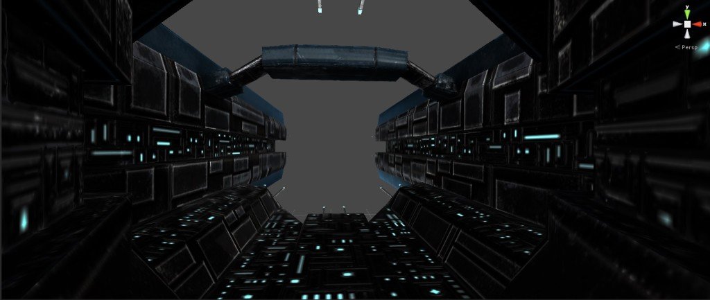 View from the launch bay of a new carrier under construction.