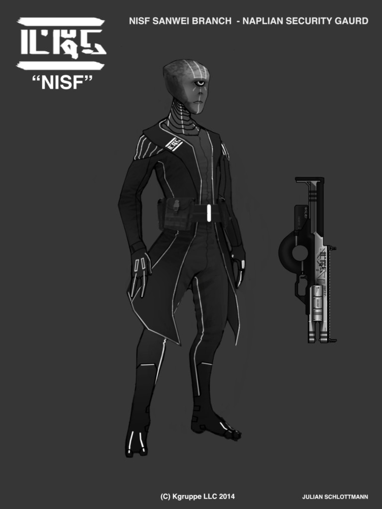 """The Sanwei officer pictured above is dressed in the field uniform of the Sanwei branch. The rifle pictured is a standard issue Daish Imperial Arms (DIA) Daish Kashiton 458 """"Furta"""" energy rifle. Furta is translated as """"Judge"""" in Naplian dialects. The Terrans nicknamed it the """"DK458 Longshot"""" due to its high capacity magazine."""