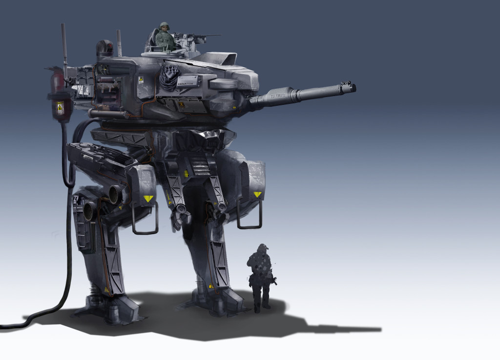 The Mech pictured is an H56 Mark 5e. It carries a 127 mm rifled plasma gun as its main weapon.  Earlier models were equipped with the Marken 100 mm rail gun. The Mark 5a mounted a Vulkmer Corporation short barreled 150 mm howitzer and the Mark 5d was armed an Aeros Offworld Industries (AOI) short barreled 95 mm particle beam main gun.